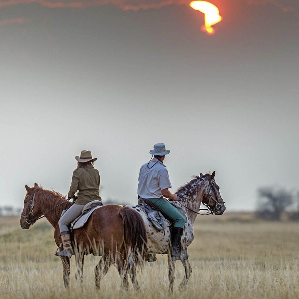kalahari desert horseback safari sunset